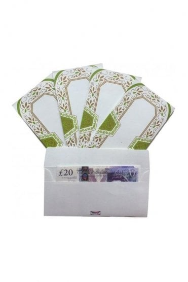 E100_GRE Pack of 5 Green and Ivory Shagun Envelope Money Wallet