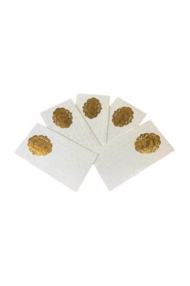 E21_IVO Pack of 10 Ivory and Gold Shagun Envelope Money Wallet
