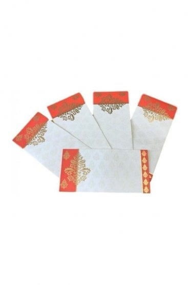 E104_RED Pack of 10 Red and Ivory Shagun Envelope Money Wallet
