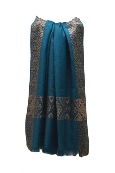 WSL19002 Jade Green and Beige Ethnic Indian Shawl Stole Scarf with Elegant Paisley Embroidery