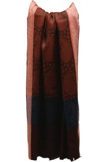 WSL19005 Navy Blue and Red Ethnic Indian Shawl Stole Scarf with Classy Paisley Embroidery