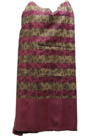 WSL19006 Pink and Beige Ethnic Indian Shawl Stole Scarf with Beautiful Paisley Embroidery