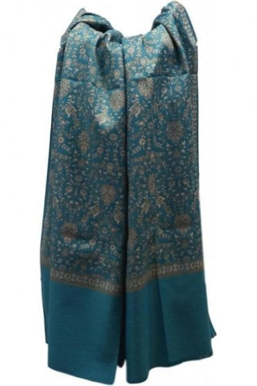 WSL19011 Jade Green and Gold Ethnic Indian Shawl Stole Scarf with Elegant Paisley Embroidery