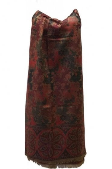WSL19013 Maroon and Black Ethnic Indian Shawl Stole Scarf with Classic Paisley Embroidery