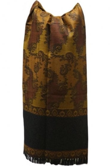 WSL19014 Mustard and Black Ethnic Indian Shawl Stole Scarf with Classy Paisley Embroidery