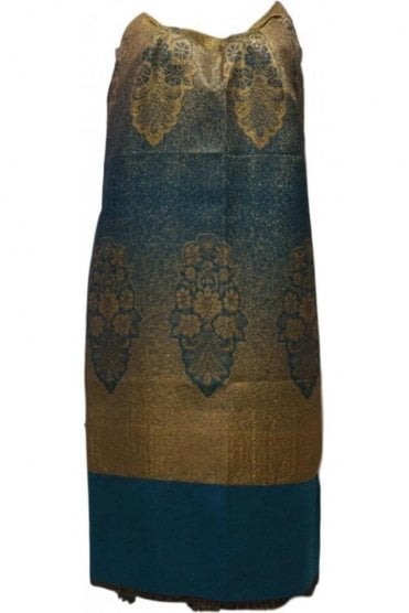 WSL19043 Jade Green and Gold Ethnic Indian Shawl Stole Scarf with Lovely Paisley Embroidery