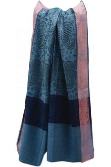 WSL19015 Blue and Pink Ethnic Indian Shawl Stole Scarf with Beautiful Paisley Embroidery