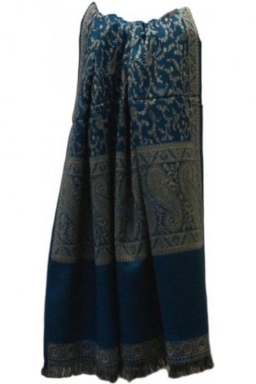 WSL19016 Jade Green and Beige Ethnic Indian Shawl Stole Scarf with Lovely Paisley Embroidery