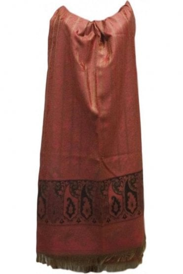 WSL19001 Pink and Beige Ethnic Indian Shawl Stole Scarf with Gorgeous Paisley Embroidery