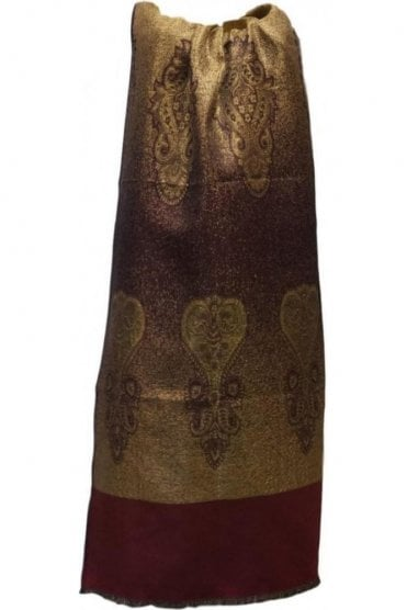 WSL19019 Maroon and Gold Ethnic Indian Shawl Stole Scarf with Gorgeous Paisley Embroidery