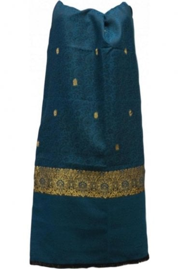 WSL19021 Jade Green and Gold Ethnic Indian Shawl Stole Scarf with Stunning Paisley Embroidery