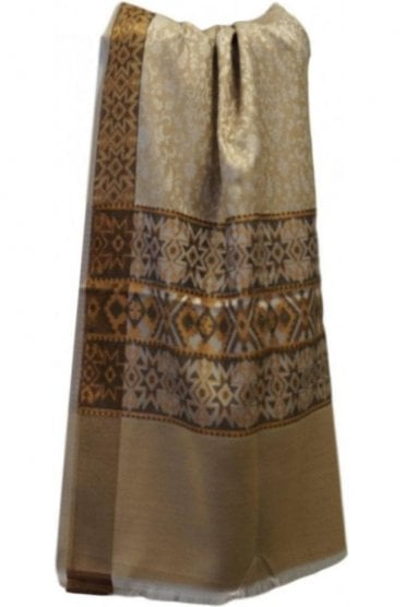 WSL19052 Beige and Brown Ethnic Indian Shawl Stole Scarf with Pleasing Paisley Embroidery