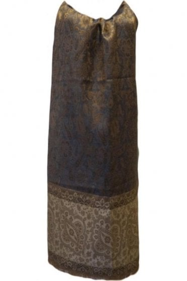 WSL19055 Blue and Coffee Brown Ethnic Indian Shawl Stole Scarf with Elegant Paisley Embroidery