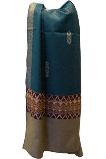 WSL19057 Jade Green and Gold Ethnic Indian Shawl Stole Scarf with Classic Paisley Embroidery
