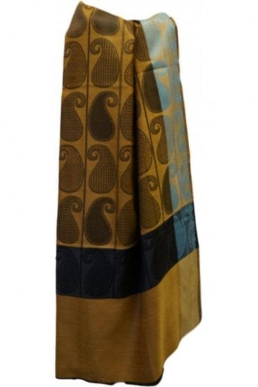 WSL19062 Yellow and Black Ethnic Indian Shawl Stole Scarf with Exquisite Paisley Embroidery