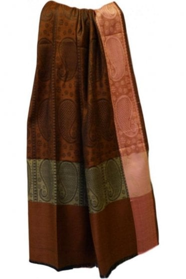 WSL19045 Brown and Pink Ethnic Indian Shawl Stole Scarf with Gorgeous Paisley Embroidery