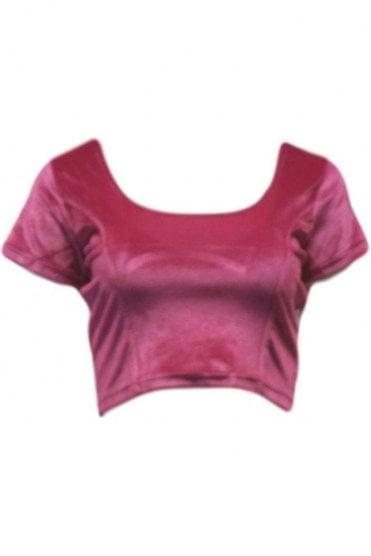 RVB19011 Pink Ready Made Stretchable Velvet Blouse