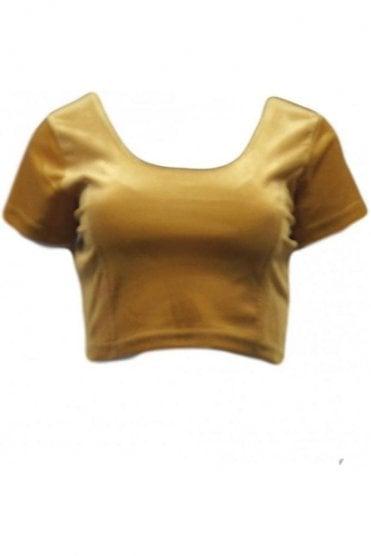 RVB19012 Mustard Gold Ready Made Stretchable Velvet Blouse
