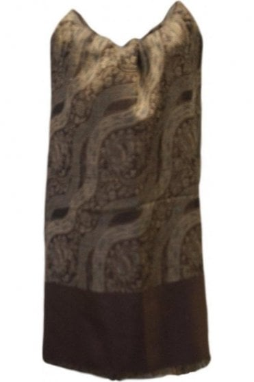 WSL19082 Coffee Brown and Beige Ethnic Indian Shawl Stole Scarf with Stunning Paisley Embroidery