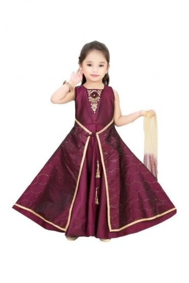 KCS19091 Dark Purple and Gold Girl's Churidar Suit