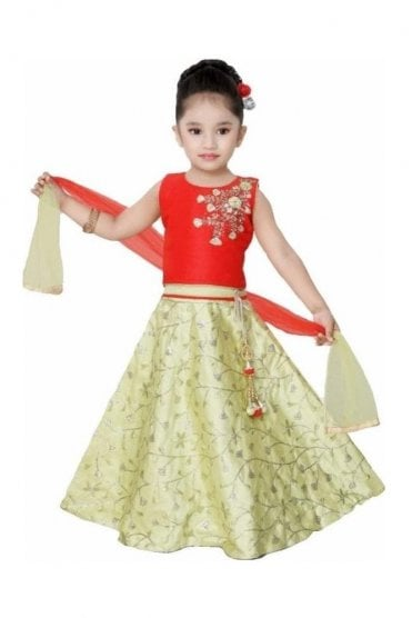 GLC19108 Red and Green Girl's Lengha Choli
