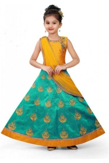 GLC19112 Yellow and Jade Green Girl's Lengha Choli