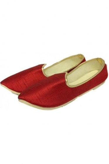 MJD19002 Red and Gold Raw Silk Men's Mojari Mojadi Jutti Shoes