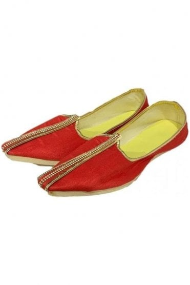 MJD19003 Red and Gold Raw Silk Men's Mojari Mojadi Jutti Shoes