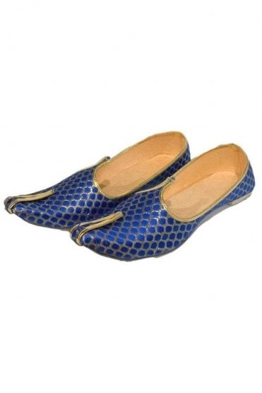 MJD19004 Blue and Gold Brocade Men's Mojari Mojadi Jutti Shoes