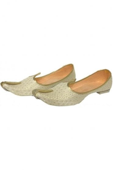 MJD19005 Cream  and Gold Brocade Men's Mojari Mojadi Jutti Shoes