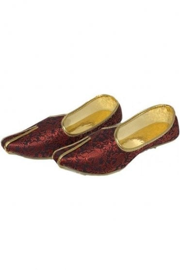 MJD19008 Maroon and Gold Brocade Men's Mojari Mojadi Jutti Shoes