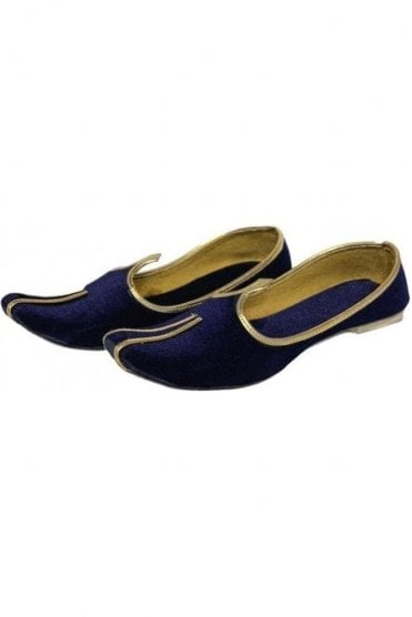 MJD19009 Navy Blue and Gold velvet Men's Mojari Mojadi Jutti Shoes