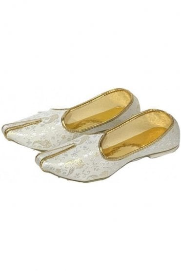 MJD19011 Cream  and Gold Brocade Men's Mojari Mojadi Jutti Shoes