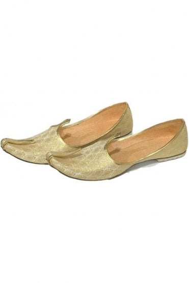 MJD19012 Cream  and Gold Brocade Men's Mojari Mojadi Jutti Shoes