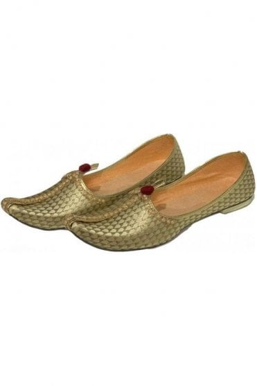 MJD19013 Gold and Beige Brocade Men's Mojari Mojadi Jutti Shoes