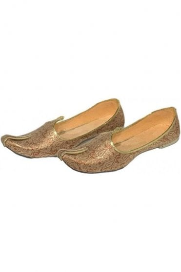 MJD19016 Gold and Copper Brocade Men's Mojari Mojadi Jutti Shoes