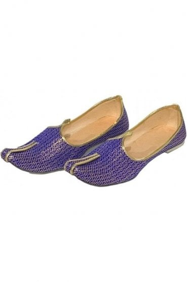 MJD19018 Blue and Gold Brocade Men's Mojari Mojadi Jutti Shoes