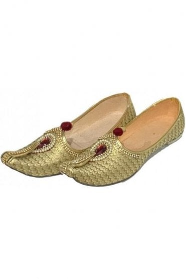 MJD19022 Gold and Beige Brocade Men's Mojari Mojadi Jutti Shoes