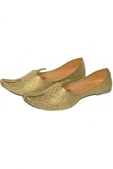 MJD19023 Gold and Beige Brocade Men's Mojari Mojadi Jutti Shoes