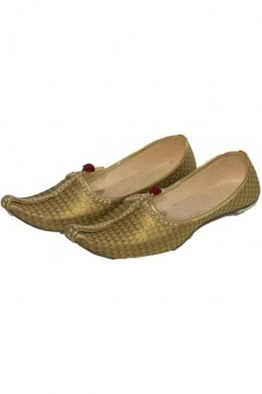 MJD19027 Gold and Beige Brocade Men's Mojari Mojadi Jutti Shoes
