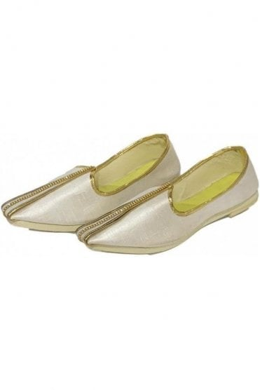 MJD19029 Ivory and Gold Raw Silk Men's Mojari Mojadi Jutti Shoes