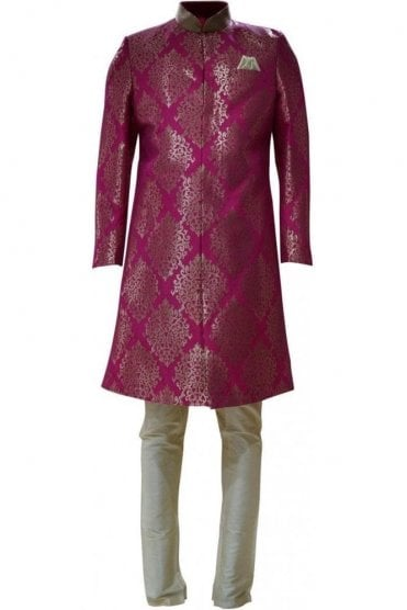 MTS19013 Pink and Gold Men's Sherwani Suit