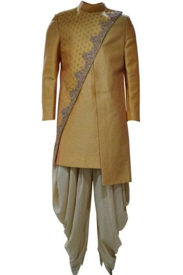 MTS19015 Mustard Yellow and Gold Men's Sherwani Suit