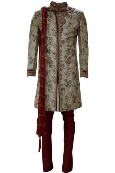 MTS19019 Gold and Maroon Men's Sherwani Suit with Red Dupatta Scarf