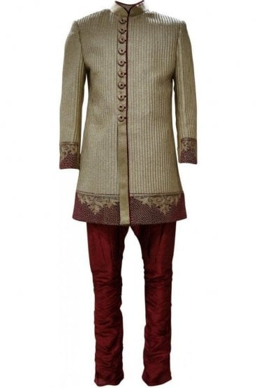 MTS19020 Gold and Maroon Men's Sherwani Suit