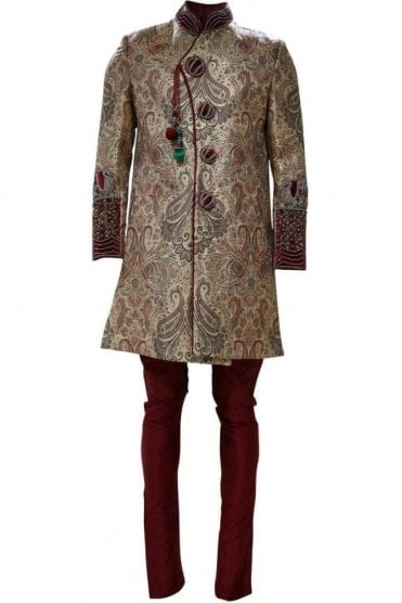 MTS19023 Gold and Maroon Men's Sherwani Suit