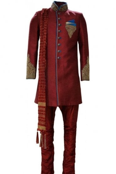 MTS19024 Maroon Red and Blue Men's Sherwani Suit