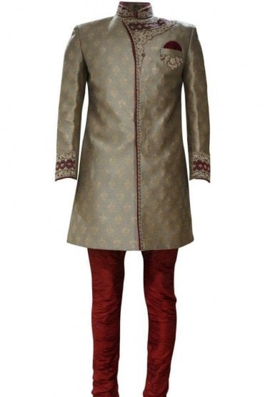 MTS19035 Gold and Maroon Men's Sherwani Suit