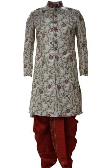 MTS19036 Gold and Maroon Men's Sherwani Suit