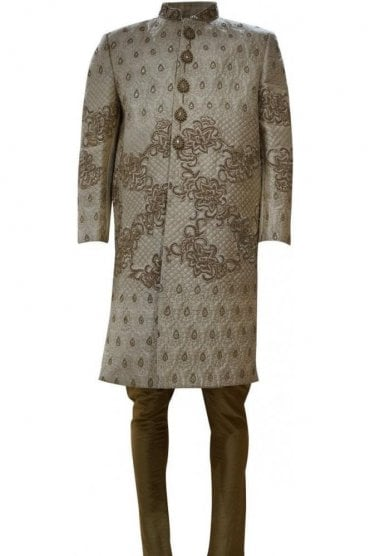 MTS19039 Cream and Gold Men's Sherwani Suit
